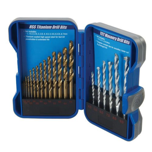 19 Piece Silverline 633805 Titanium Coated HSS & TCT Masonry Drill Bit Set